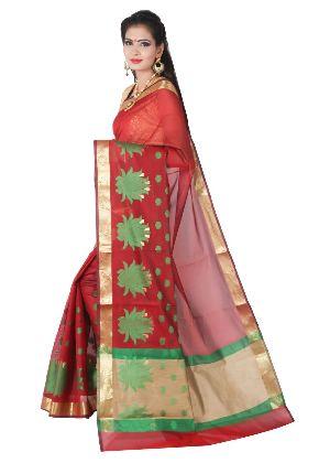 Chanderi Cotton Lotus Buti Saree