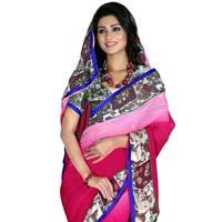 Appealing Printed Bordered Casual Wear Chiffon Saree 34