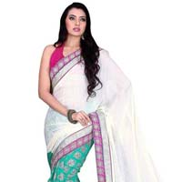 Divine Border Worked Green Colored Satin Crepe Saree