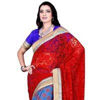 Sophisticated Floral Motif Brasso & Silk Saree