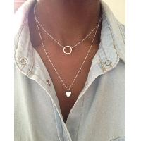 Sterling Silver 2 Layer Necklace Eternity