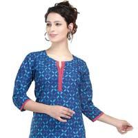 Beauteous Blue Basic Printed Cotton Kurti