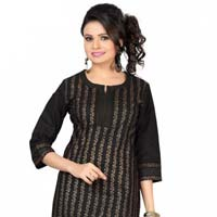 Golden Glitz Black Short Casual Kurta With Block Print