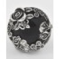 Burnished Silver Black Gemstone Flower Vintage Stretch Ring