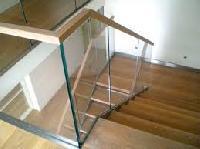 glass wood railing