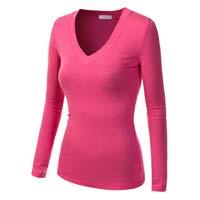 100% Cotton Ladies Long Sleeve Plain T-shirts