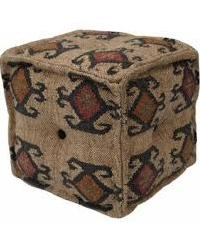wool jute pouf
