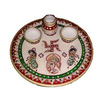 Lord Ganesha Pooja Thali With Peacock