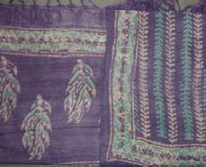 Handloom Bagru Dabu Print Tasar Silk Dupatta (with Tassels)