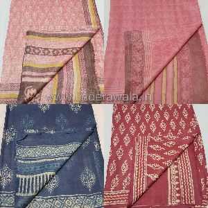 Handloom Bagru Dabu Print Tasar Silk Saree (With Blouse)