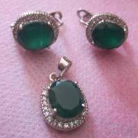 Silver Gemstone Pendant Set