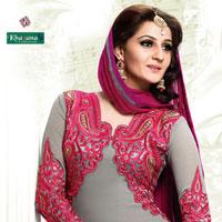 Orange & White Georgette Salwar Suits