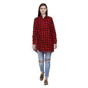 Ladies Red Black Checked Shirts