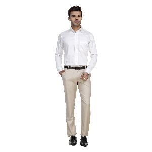 Mens Beige Casual Trousers