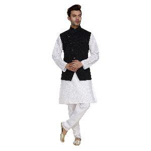 Mens Quilted Black Nehru Jackets