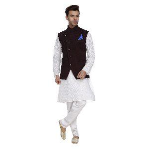 Mens Quilted Wine Nehru Jackets