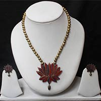 Large Red Lotus Pendant Set