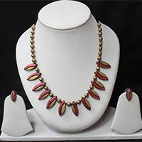 Terracotta Jewelry Pink Yellow Leaves Set