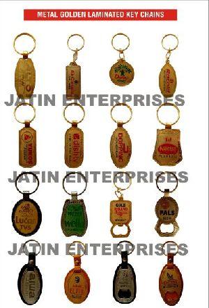 Metal Golden Laminated Keychains