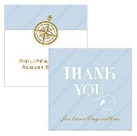 Vintage Travel Square Favor Tag - Thank You