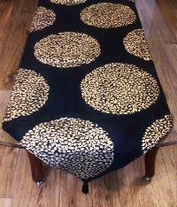 Royal Gold Hand Block Printed Silk Table Runner   Black