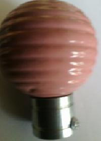 Curved Pink Ceramic Curtain Rod Balls