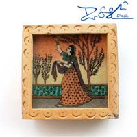Square Painted Wooden Box