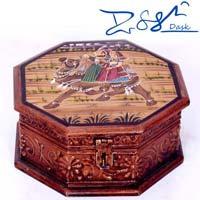 Wooden Octagon Shaped Golden Meenakari Dry Fruit Box
