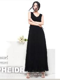 Gopche Black Chiffon Party Wear Women Dress