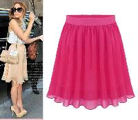Pink Chiffon Regular Wear Women Skirt