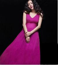 Pink Chiffon Women Party Wear Dress