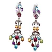 Silver Hanging Earrings With Multi Semi Precious Stones
