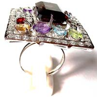 Sterling Silver Rings With Multi Precious Stone