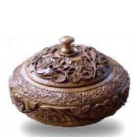 Wood Carved Fruit Bowl