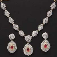 Silver CZ Necklace Set (CWCZNS271)