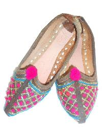 Kids Handmade Embroidered Leather Slippers