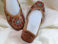 Ladies Handmade Embroidered Leather Slippers
