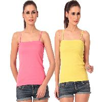 Womens Pink N Yellow Camisoles, Spaghetti Strap Tank Tops