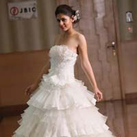 Strapless Tafetta Organza Designer Wedding Ball Gown
