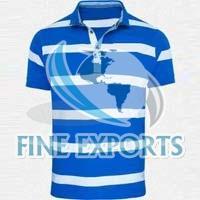 Blue and White Stripe Polo T Shirt
