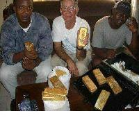 Au Gold Bar, Gold Dust And Gold Nugget