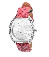 Tropez Womens Crystal Studded Silver Dial Red Python Strap