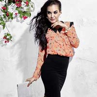 Butterfly Peach Pink Long Sleeve Shoulder Cuff Blouse