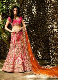 Exuberant Patch Border Work Hot Pink Lehenga Choli