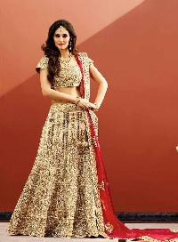 Transcendent Patch Border Work Beige A Line Lehenga Choli
