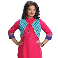 Cotton Anarkali Suit With Jacket