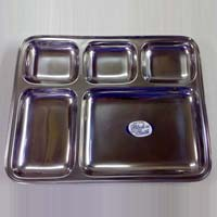 Five Grids Stainless Steel Divider Food Trays