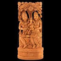 Wooden Shiva Parvati Statue