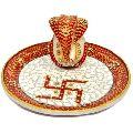 Jaipur Art Craft Gallery Hindu God Puja Ganesha Marble Pooja Thali Plate