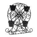 Black Powder Coating Iron Ferris Wheel Planter
